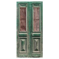 """Pair of 41"""" Antique French Colonial Doors with Iron Inserts"""