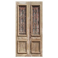 """Salvaged Pair of 44"""" French Colonial Doors with Iron Inserts"""