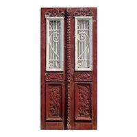 "Reclaimed Pair of 39"" French Colonial Doors with Iron Inserts"