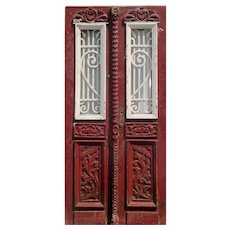 """Reclaimed Pair of 39"""" French Colonial Doors with Iron Inserts"""