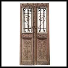 "Salvaged Pair of 40"" French Colonial Doors with Iron Inserts"