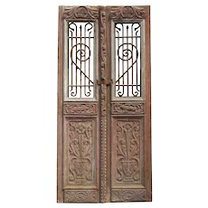 """Salvaged Pair of 40"""" French Colonial Doors with Iron Inserts"""