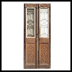 "Reclaimed Pair of 36"" French Colonial Doors with Iron Inserts"