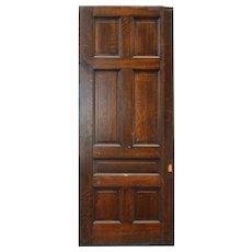 """Heavy Antique 42"""" Oak Pocket Door, Manuel House c. 1910"""