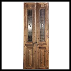 "Pair of 35"" Antique French Colonial Doors with Iron Inserts"