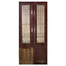 "Salvaged Pair of 44"" French Colonial Doors with Iron Inserts"