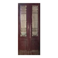 "Antique Pair of 44"" French Colonial Doors with Iron Inserts"