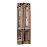 """Pair of 33"""" Antique Figural Doors with Iron Inserts"""