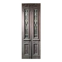"Salvaged Pair of 34"" Antique Figural Doors with Iron Inserts"