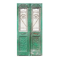 "Pair of Antique 42"" French Colonial Doors with Iron Inserts"