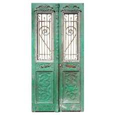 """Pair of Antique 42"""" French Colonial Doors with Iron Inserts"""