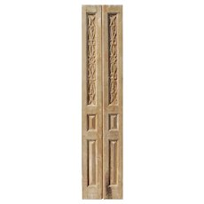 "Reclaimed 21"" Pair of Carved French Doors"