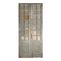 "Reclaimed Pair of Antique 46"" Double Doors with Glass"