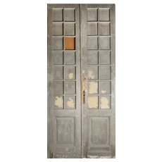 """Reclaimed Pair of Antique 46"""" Double Doors with Glass"""