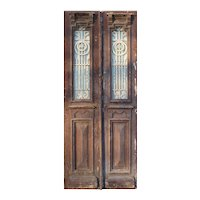 """Pair of Antique 38"""" Doors with Iron Inserts"""