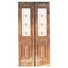 """Salvaged 44"""" French Colonial Door Pair with Iron Inserts"""