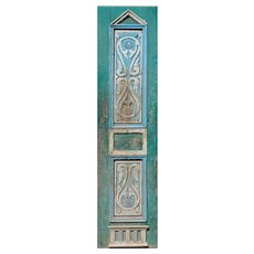 """Reclaimed 24"""" French Colonial Door with Carved Panels"""