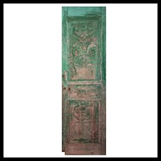 "Antique 27"" French Colonial Door with Carved Panels"