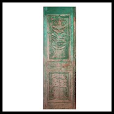 "Reclaimed 28"" French Colonial Door with Carved Panels"