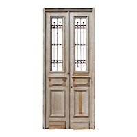 "Reclaimed Pair of 40"" French Colonial Doors with Iron Inserts"