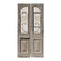 "Salvaged Pair of 44"" French Colonial Doors with Arched Windows"