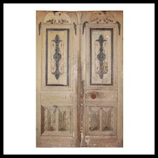 "Salvaged Pair of 52"" Antique Figural Doors with Eagles"