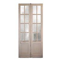 """Pair of Antique 43"""" Double Doors with Glass"""