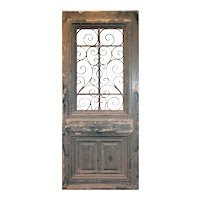 "Salvaged 39"" French Colonial Door with Iron Insert"