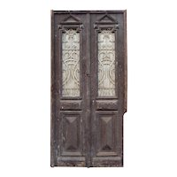 "Salvaged Pair of 44"" Antique French Colonial Doors with Iron Inserts"
