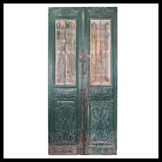 "Pair of Antique 46"" French Colonial Doors with Iron Inserts"