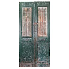 """Pair of Antique 46"""" French Colonial Doors with Iron Inserts"""