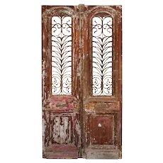 "Substantial Pair of Antique 46"" French Colonial Doors with Iron Inserts"