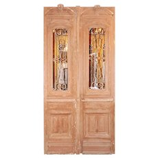 "Large Pair of Antique 56"" French Colonial Doors with Iron Inserts"