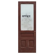 "Salvaged 33"" Antique Office Door, Early 1900s"