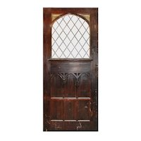 "Substantial 47"" Salvaged Oak Door with Gothic Arch Window"