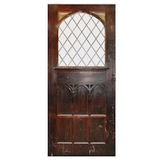 """Substantial 47"""" Salvaged Oak Door with Gothic Arch Window"""