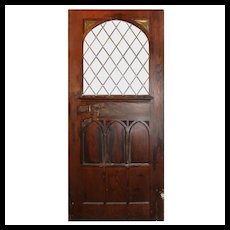 """Large 48"""" Salvaged Oak Door with Gothic Arch Window"""