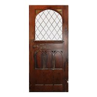 "Large 48"" Salvaged Oak Door with Gothic Arch Window"