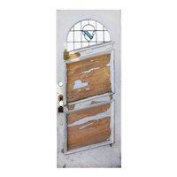 """Unusual Antique 33"""" Door with Leaded Glass Window"""