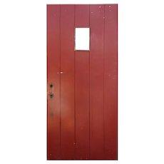 """Salvaged 35"""" Exterior Plank Door with Window"""