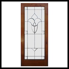 """Antique 35"""" Oak Door with Leaded and Beveled Glass"""