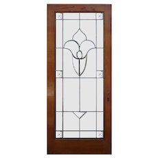 "Antique 35"" Oak Door with Leaded and Beveled Glass"