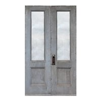 "Salvaged 51"" Pair of Antique Doors with Chicken-Wire Glass"