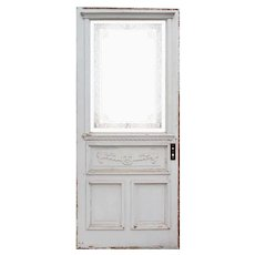 """Reclaimed 33"""" Antique Cottage Door with Glue Chip Glass"""