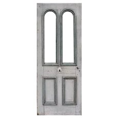 """Salvaged 32"""" Antique Cottage Door with Dual Arched Windows, c. 1890"""