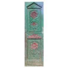 """Salvaged 29"""" French Colonial Door with Carved Panels"""