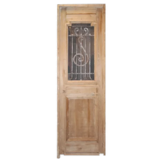 "Reclaimed 27"" French Colonial Door with Iron Insert"