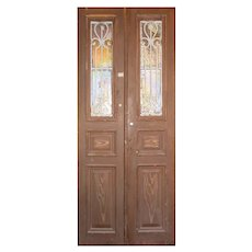 """Antique Pair of 40"""" French Colonial Doors with Iron Inserts"""