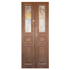 "Antique Pair of 40"" French Colonial Doors with Iron Inserts"