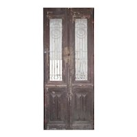 """Pair of 37"""" Antique French Colonial Doors with Iron Inserts"""